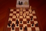 No A207 Combo. Rosewood Chess Set with Board and Chest. 101mm King