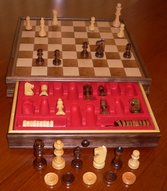 No 1502 Combo. Chess and Draughts Set with Drawer