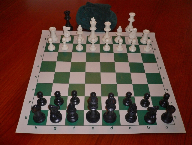 No 280 Combo. Solid Plastic Chess Set with Vinyl Mat 47mm Squares and Bag