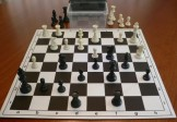 No 280B Combo. Solid Plastic Chess Set with Folding Board and Container