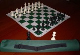 No 4095 Solid Plastic Chess Set and Vinyl Mat in Carry Bag