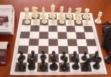 No 7098A Combo. 'Premier' Plastic Chess Set with Folding Board, Chess Clock and Bag