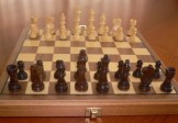 No 7162-12  Chess Set and Folding Board. 67mm King