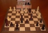 No A205A Combo. Rosewood Chess Set with Folding Board and Chest