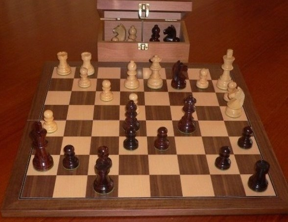 Anjan Chess Set with Folding Board and Chest. 89mm King