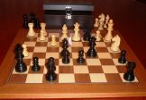 No A303EW Combo. Ebony Chess Set with Board and Chest. 76mm King