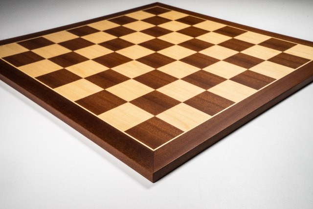Mahogany and Maple Deluxe Standard Chess Board 40mm Squares