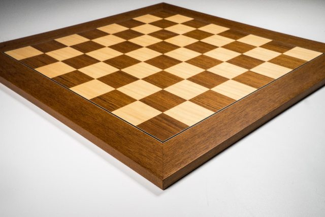 Teak and Maple Deluxe Chess Board 40mm Squares