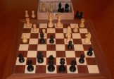 Ebony Extra Weighted Chess Set with Mahogany Board and Chest. 89mm King