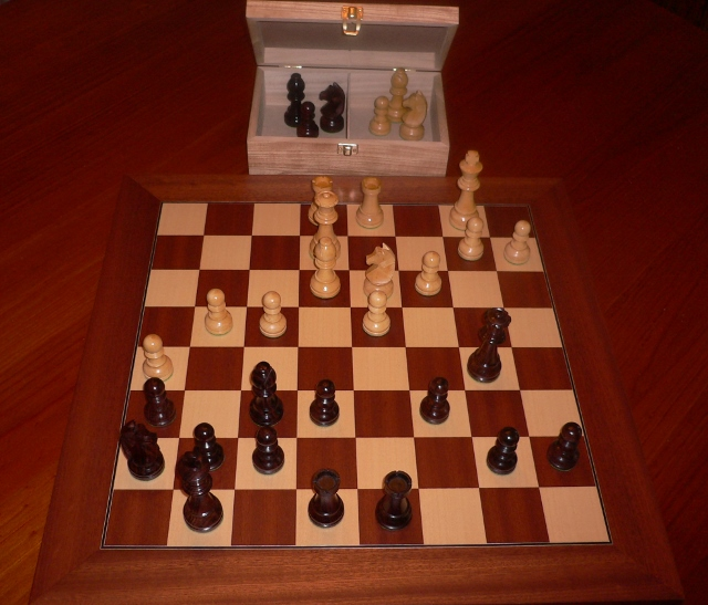 Anjan Chess Set with Mahogany Board and Chest. 89mm King
